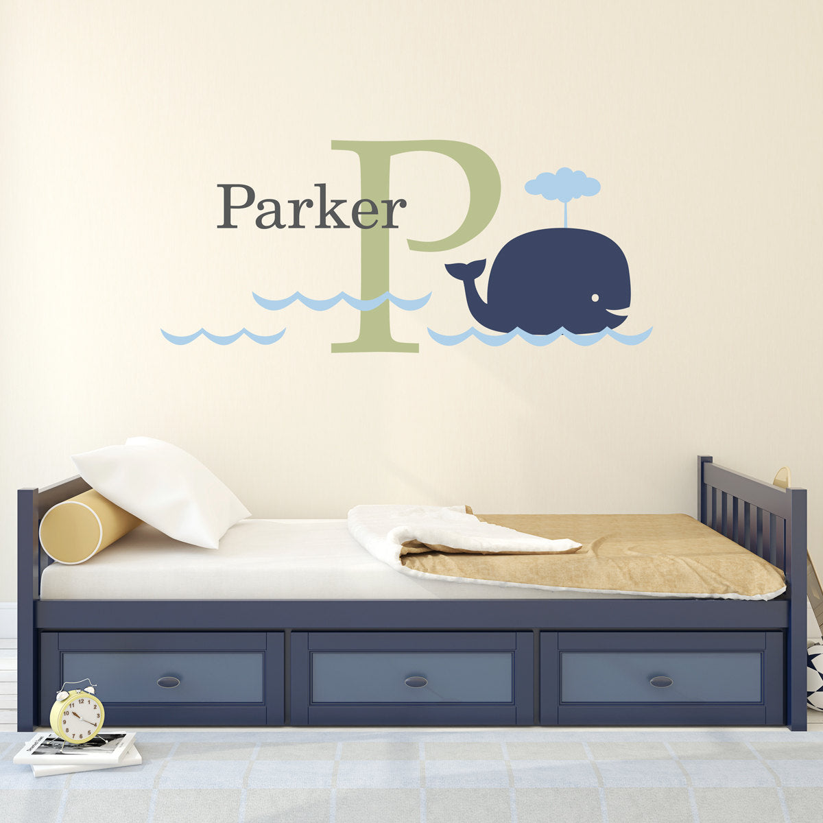 Personalized kids decals stephen edward graphics big whale initial name decal set kids wall decal whale wall sticker large amipublicfo Gallery