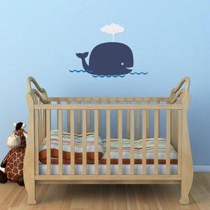 Big Whale Medium Nursery Wall Decal Set