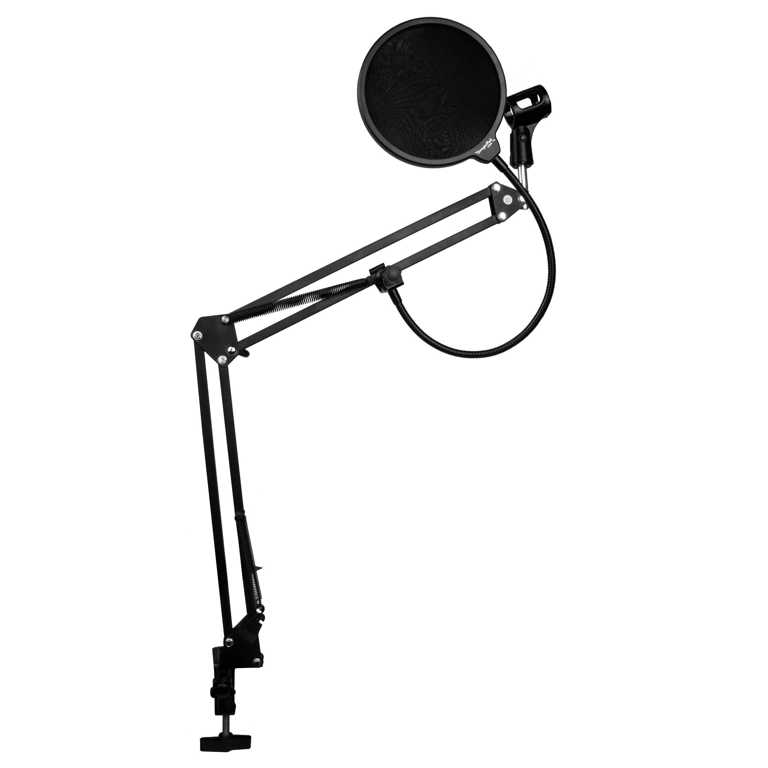 DragonPad USA Microphone Scissor Boom Arm with Desk Mount and Studio Pop Filter - Black/Black
