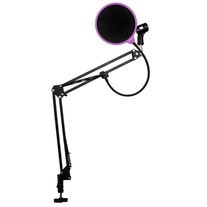 DragonPad USA Microphone Scissor Boom Arm with Desk Mount and Studio Pop Filter - Black/Purple