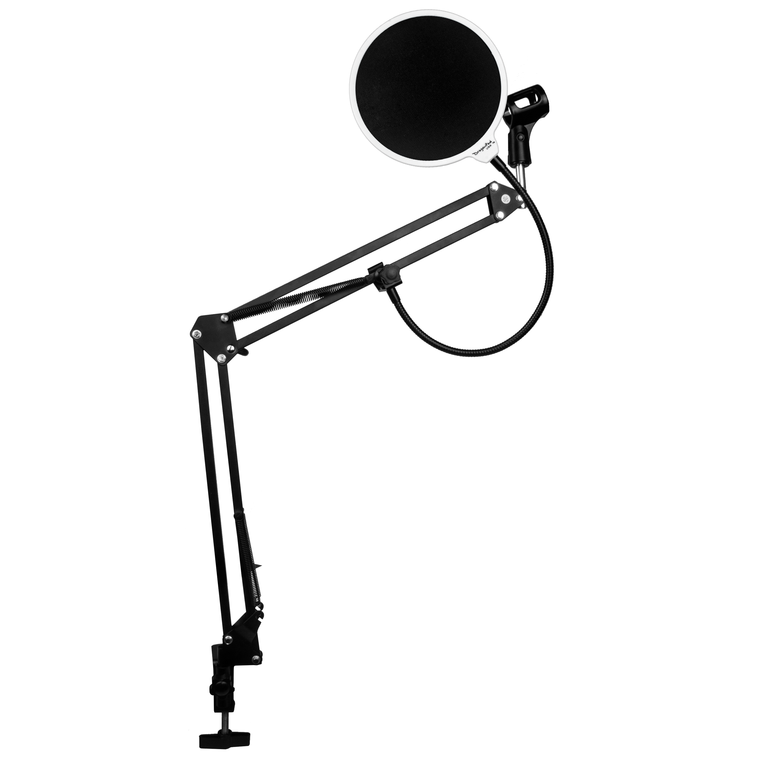 DragonPad USA Microphone Scissor Boom Arm with Desk Mount and Studio Pop Filter - White/Black/W
