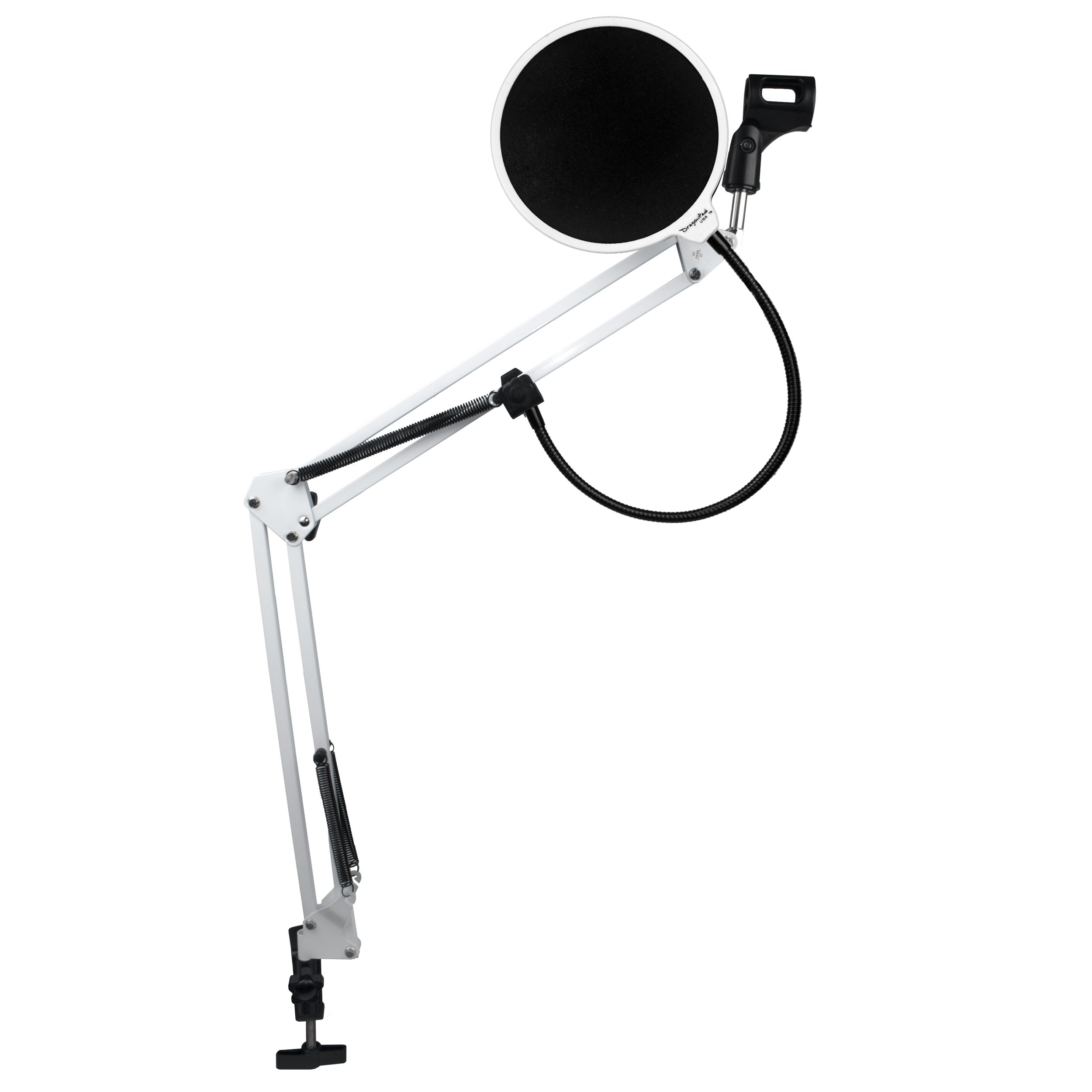 DragonPad USA Microphone Scissor Boom Arm with Desk Mount and Studio Pop Filter - White/White