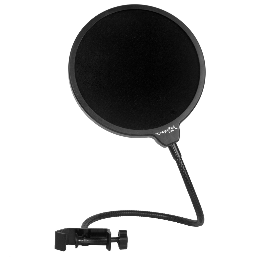 "DragonPad USA 6"" Microphone Studio Pop Filter with Clamp - Black"