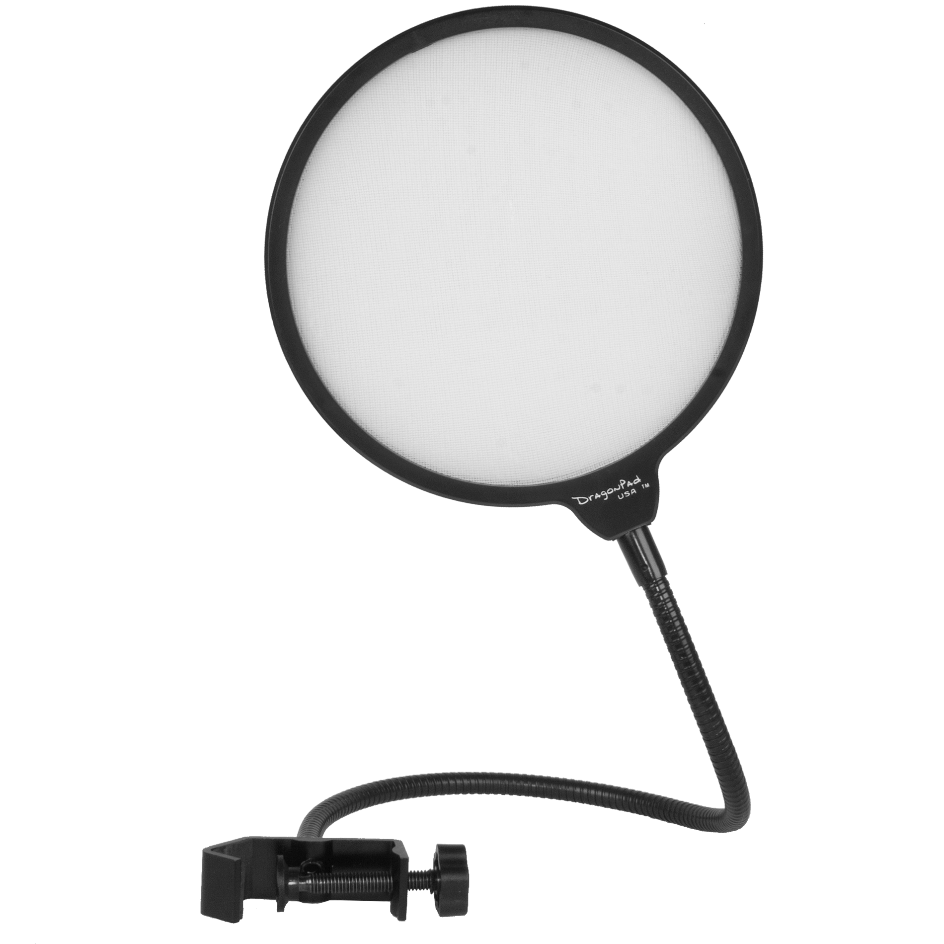 "DragonPad USA 6"" Microphone Studio Pop Filter with Clamp - V2.0 - Black/White"