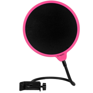 "DragonPad USA 6"" Microphone Studio Pop Filter with Clamp - Pink/Black"
