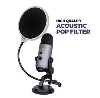 "DragonPad USA 6"" Microphone Studio Pop Filter with Clamp - White/Black"