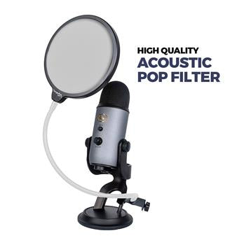 "DragonPad USA 6"" Microphone Studio Pop Filter with Clamp - Black/White"
