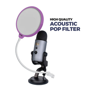 "DragonPad USA 6"" Microphone Studio Pop Filter with Clamp - Purple/White"