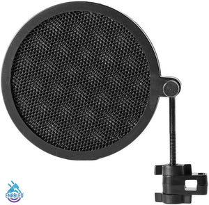 Dragonpad USA- Mini Microphone Studio Pop Filter with Clamp - Black