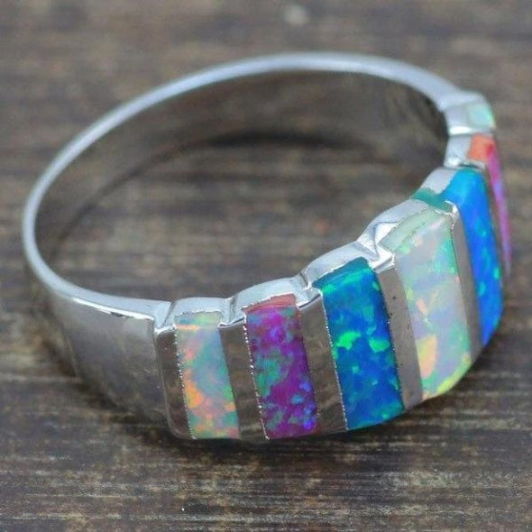 BlissfulGem Blue & White & Purple Fire Opal Silver Ring