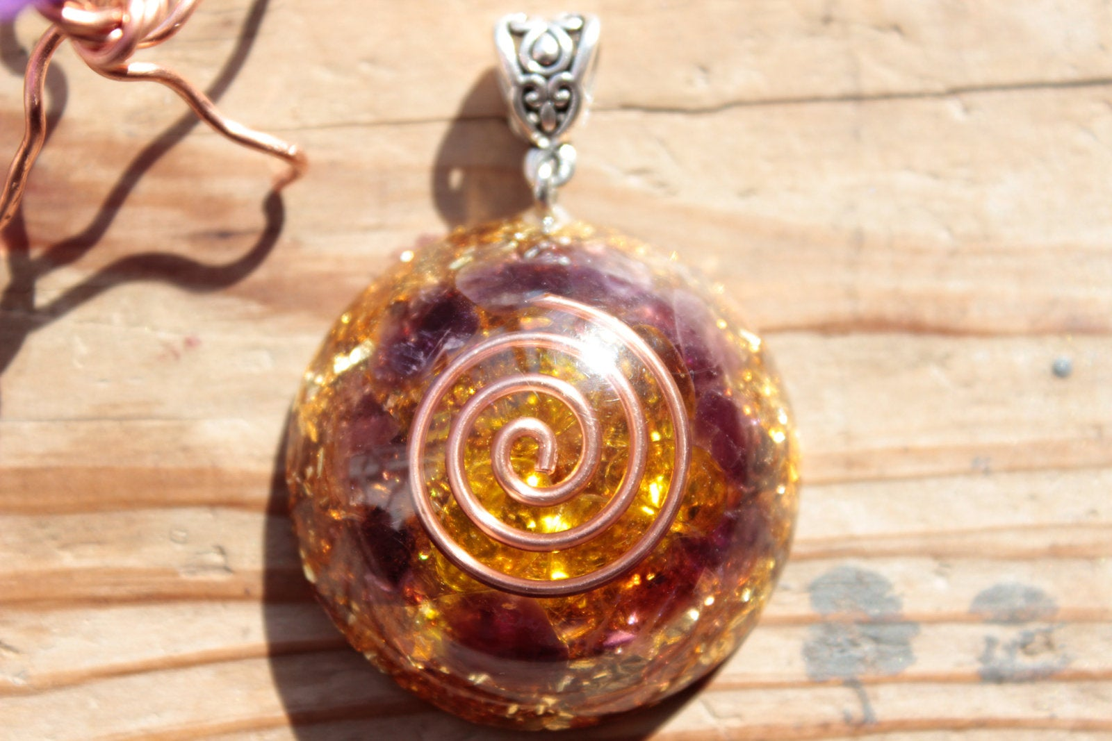 Citrine & Amethyst Orgone Energy Pendant Necklace
