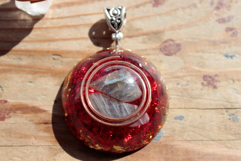 Gray Moonstone & Red quartz Orgone Energy Pendant Necklace - Sold Out