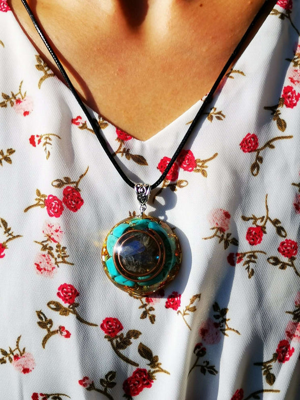 Gray Moonstone & Turquoise Orgone Energy Pendant Necklace