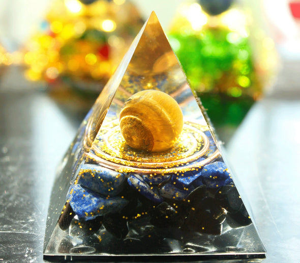 Tiger Eye Sphere & Lapis Lazuli with Obsidian Energy Chakra Orgone Pyramid