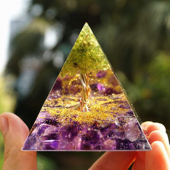 BlissfulGem Peridot Tree of Life Amethyst Orgone Pyramid