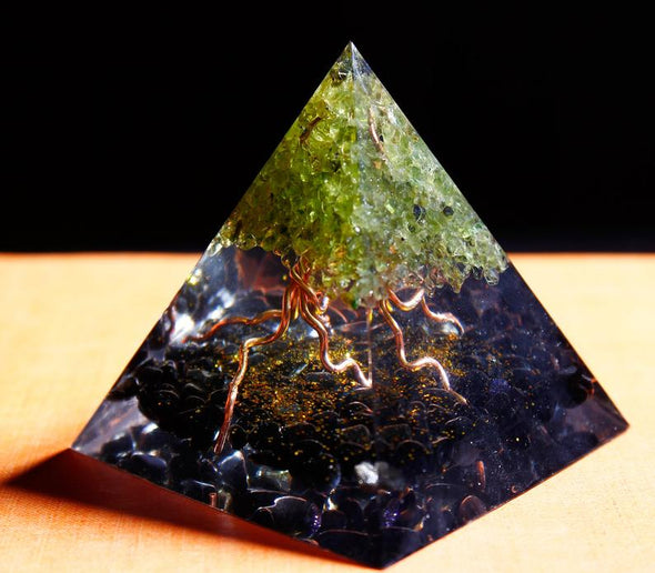 Peridot Tree of Life Obsidian Crystal Energy Chakra Orgone Pyramid