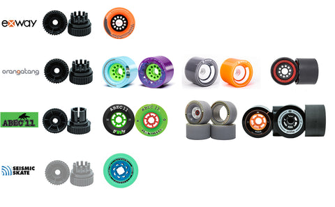 Various RIOT cogs and compatible industry recognized wheels