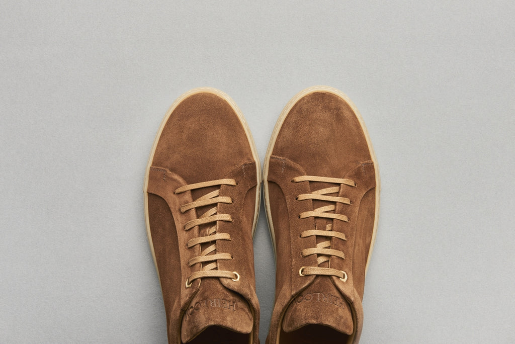 Low Top Court Sneaker in Cigar Brown Calf Suede Leather