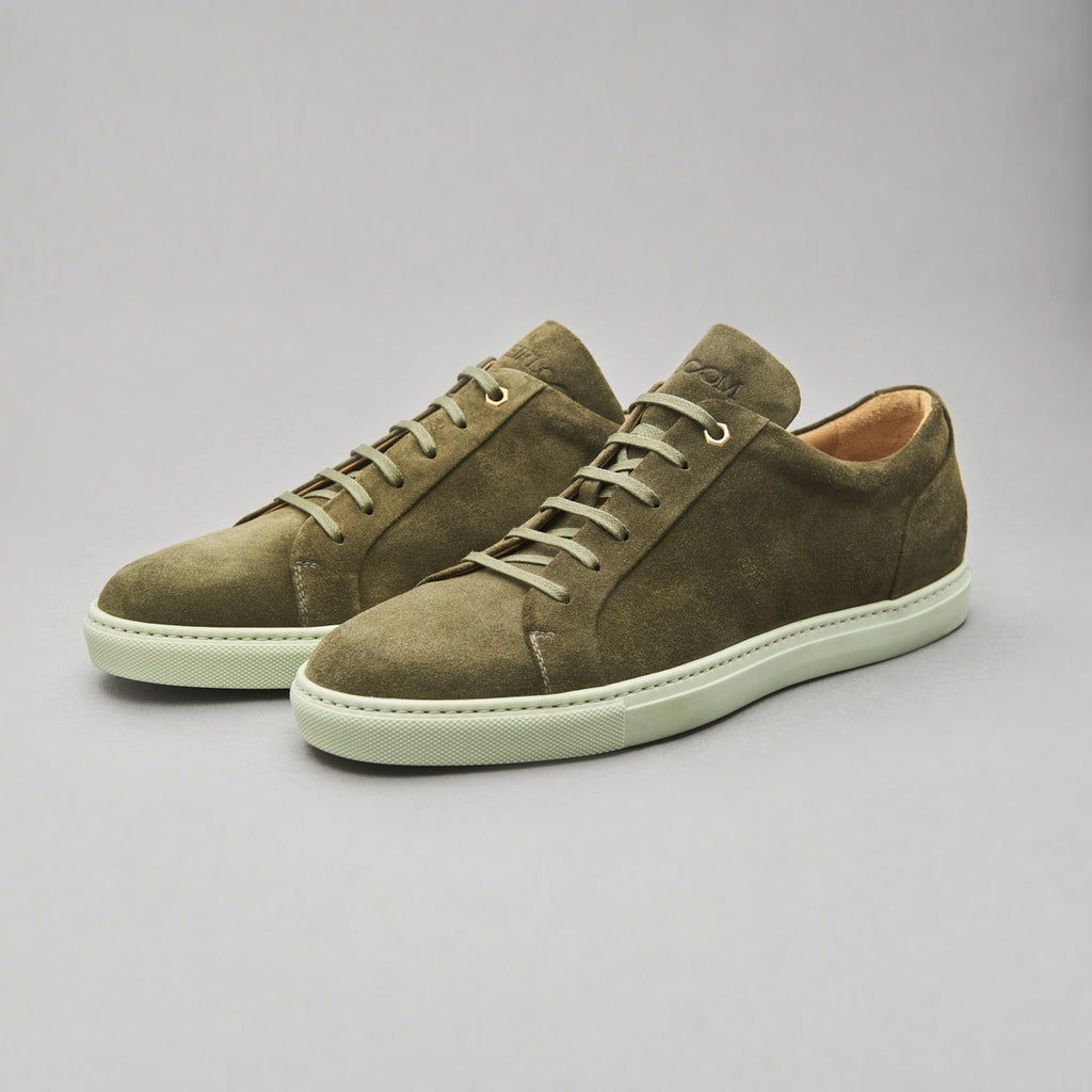 Low Top Court Sneaker in Olive Calf Suede Leather