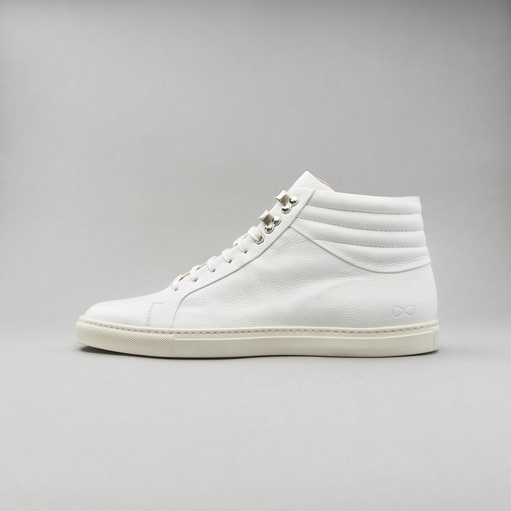 High Top Court Sneaker in White Tumbled Grain Leather
