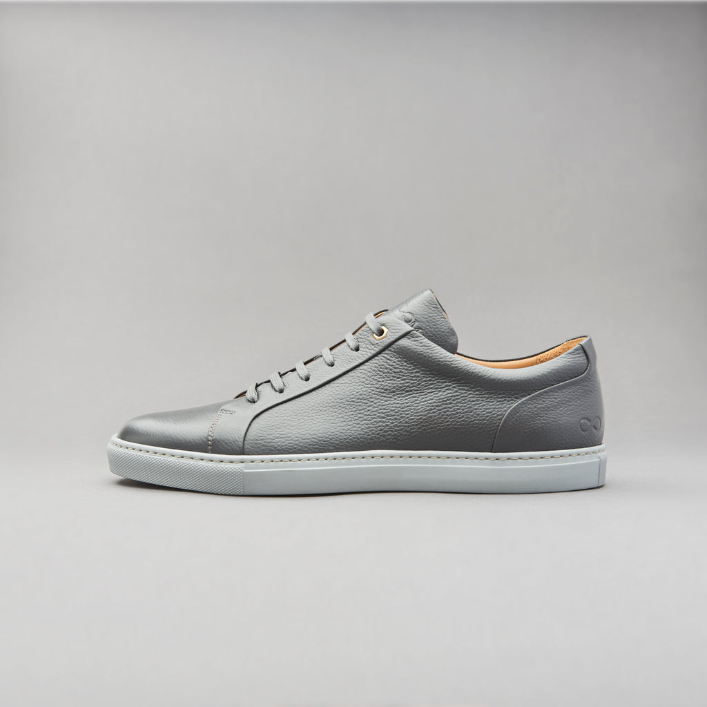 Low Top Court Sneaker in Shale Grey Tumbled Grain Calf Leather
