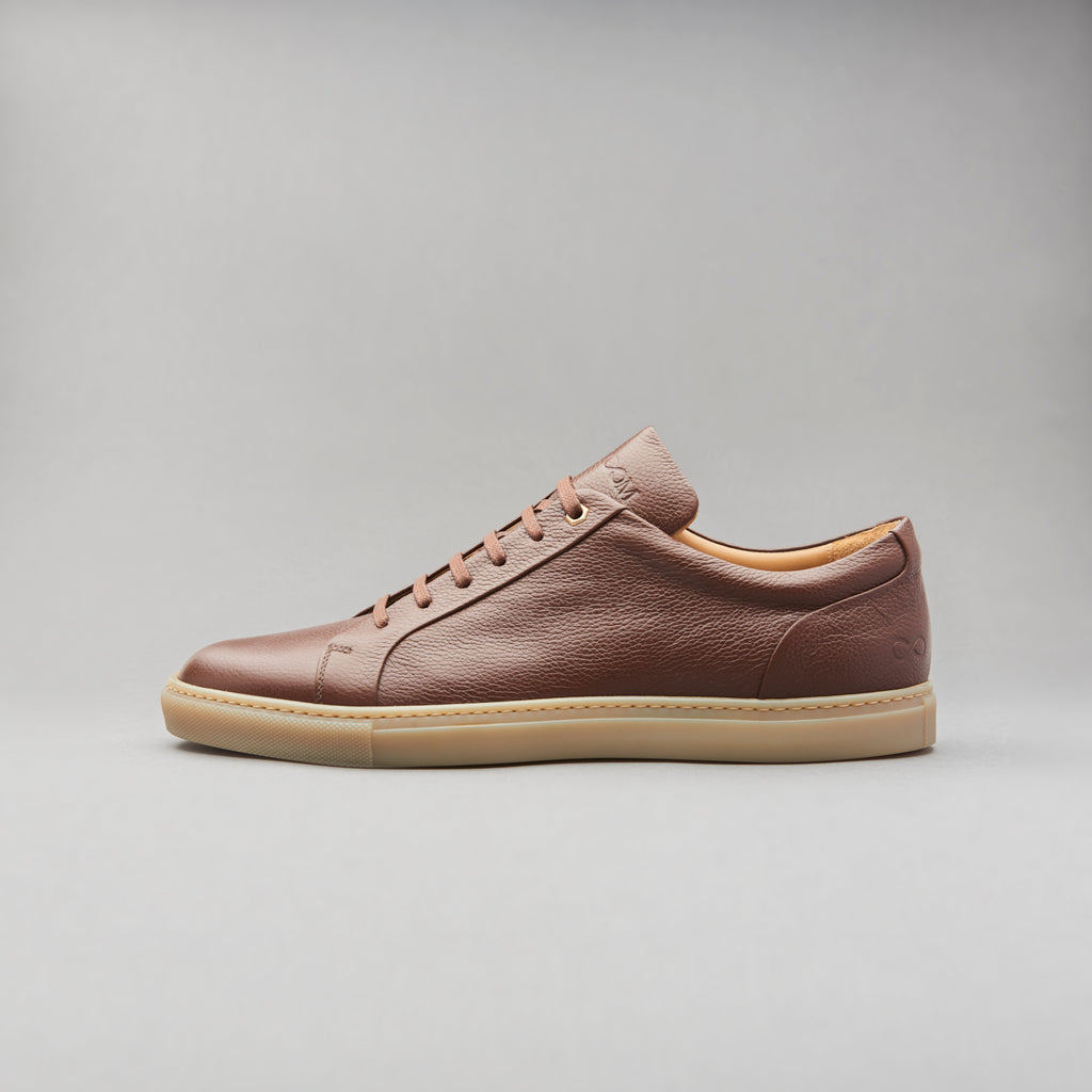 Low Top Court Sneaker in Mocha Brown Tumbled Grain Calf Leather