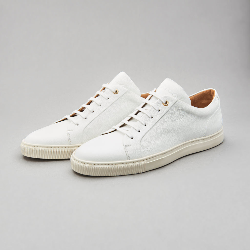 Low Top Court Sneaker in White Tumbled Grain Leather