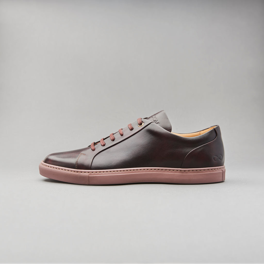 Low Top Court Sneaker in Burgundy Museum Calf Leather