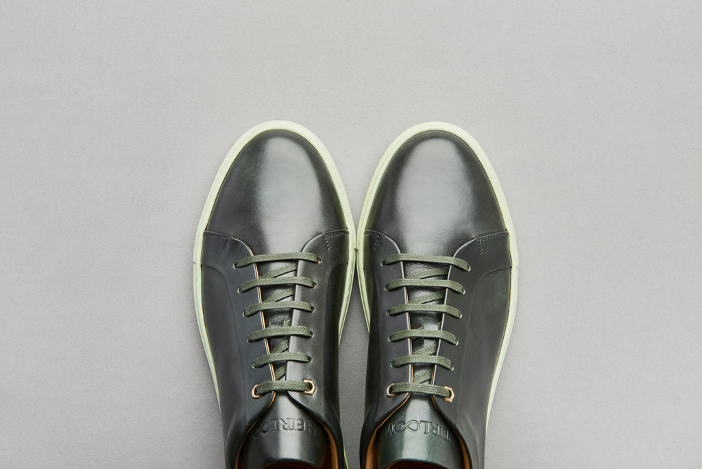 Low Top Court Sneaker in Alloro Museum Calf Leather