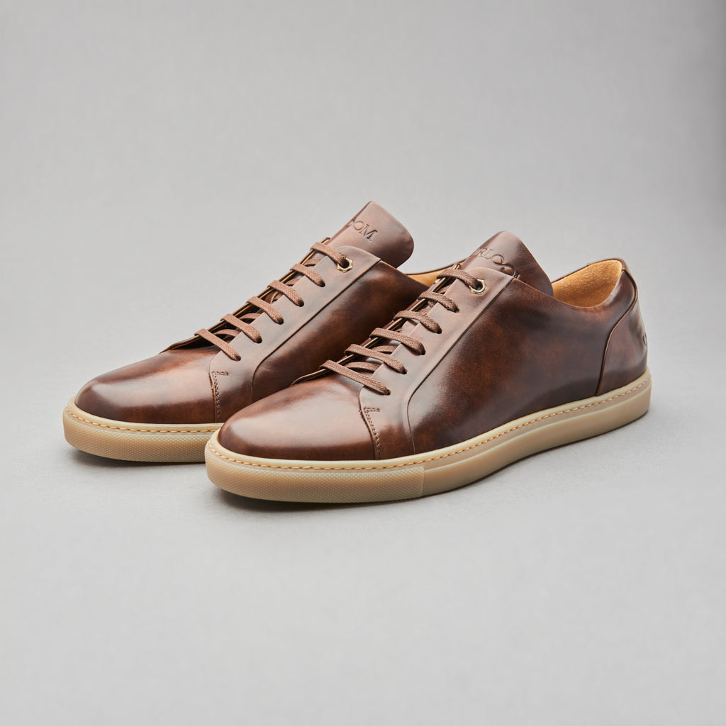 Low Top Court Sneaker in Chelmer Museum Calf Leather