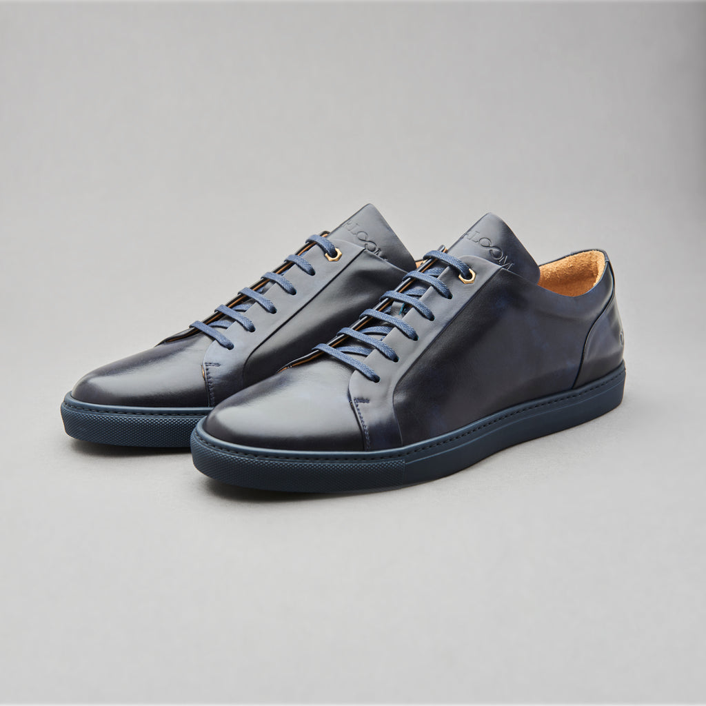 Low Top Court Sneaker in Navy Museum Calf Leather