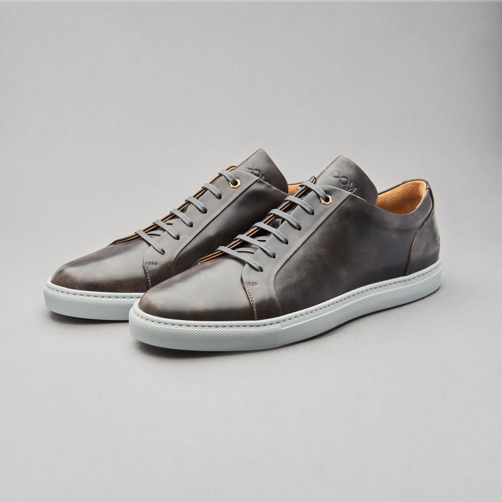 Low Top Court Sneaker in Steel Museum Calf Leather