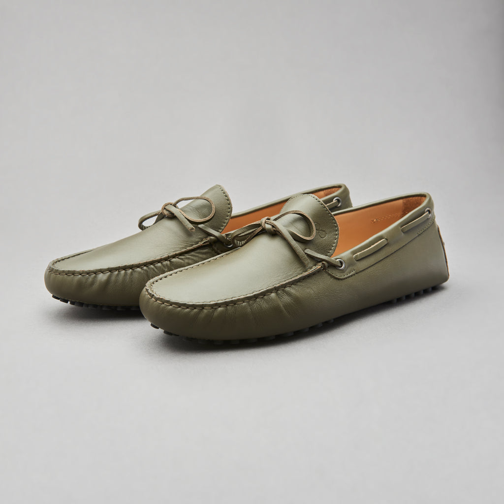 Driving Loafer in Olive Calf Leather