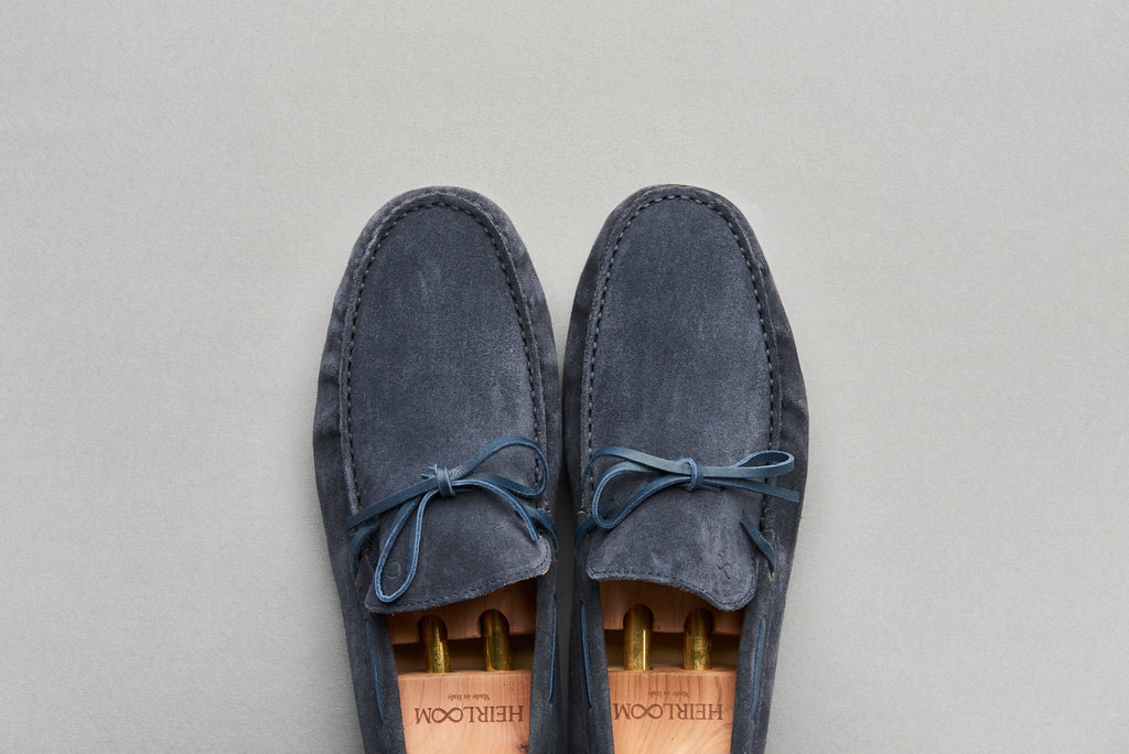 Driving Loafer in Navy Calf Suede Leather