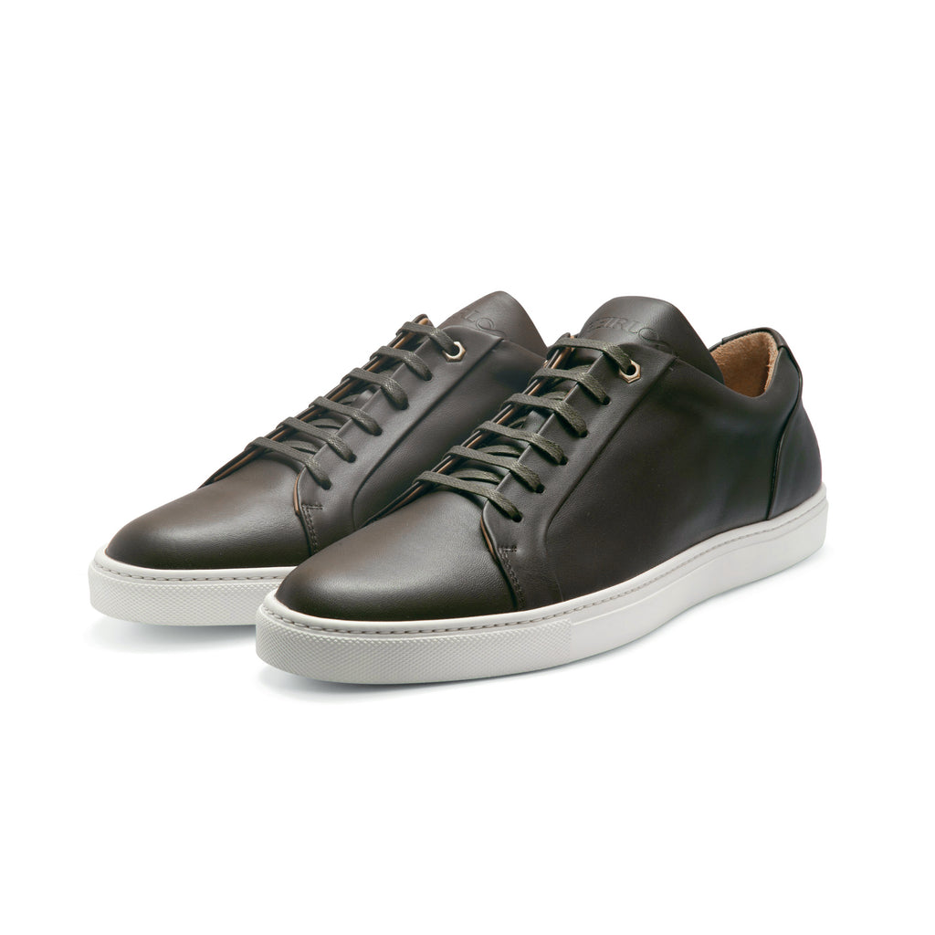 Low Top Court Sneaker in Avocado Smooth Calf Leather