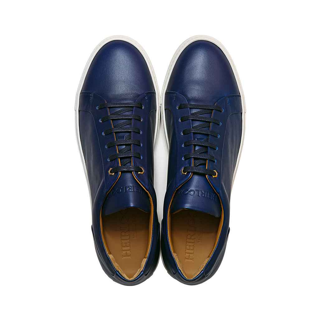 Low Top Court Sneaker in Blue Smooth Calf Leather
