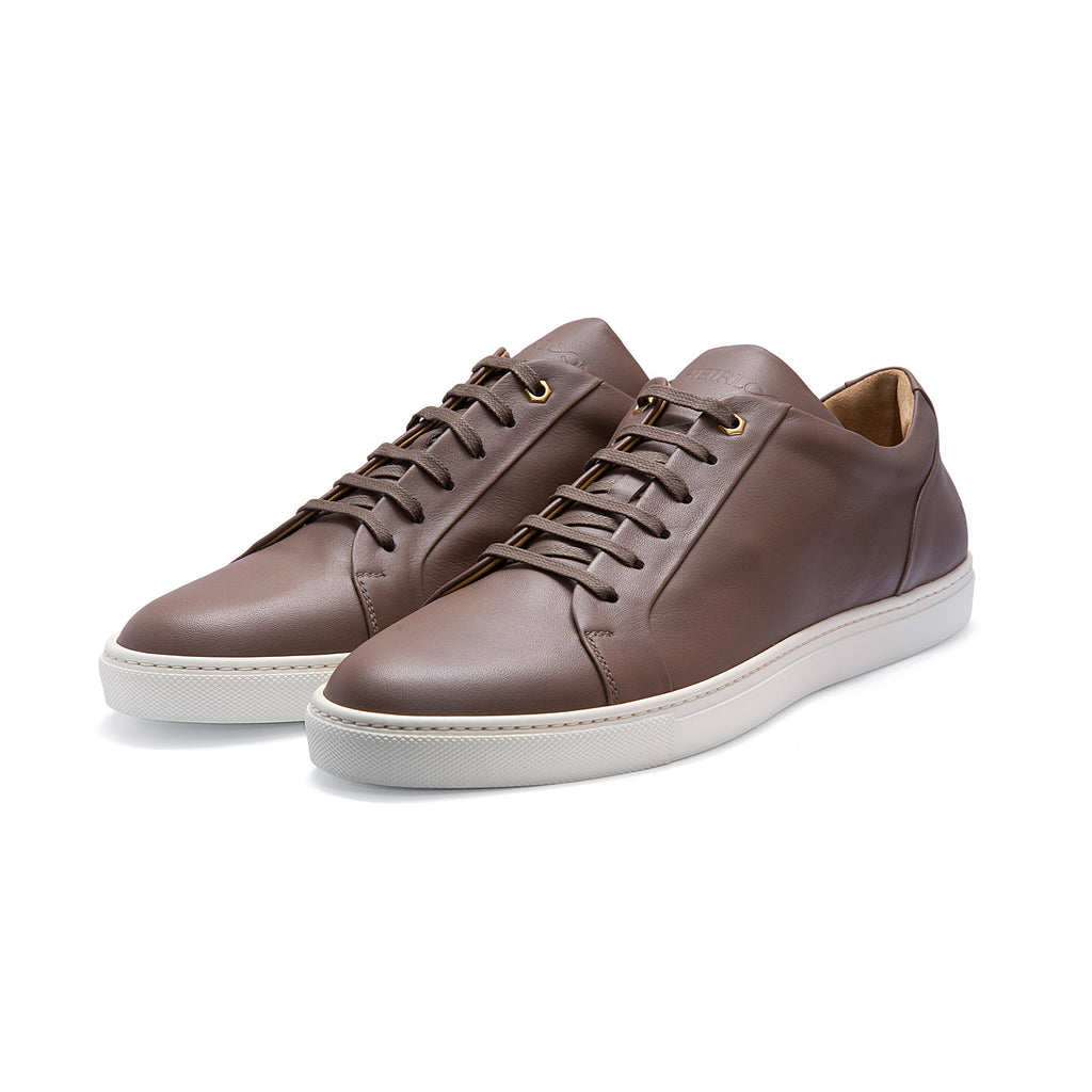 Low Top Court Sneaker in Taupe Smooth Calf Leather