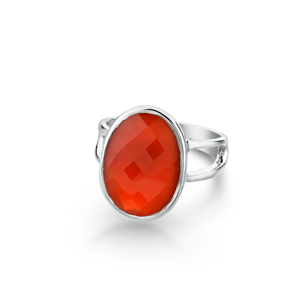 Sterling Silver ring set with carnelian from your montreal jewellery designer, www.elysee.com