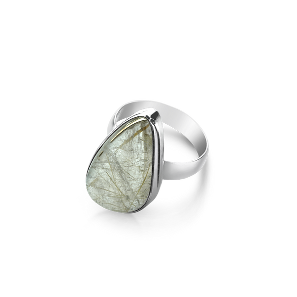 Sterling Silver ring set with rutilated quartz from your montreal jewellery designer, www.elysee.com