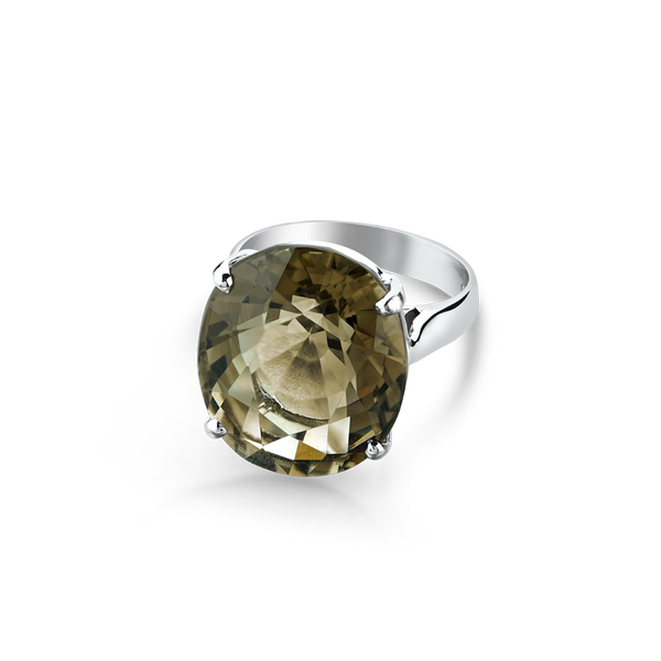 Sterling Silver ring set with smokey quartz from your montreal jewellery designer, www.elysee.com