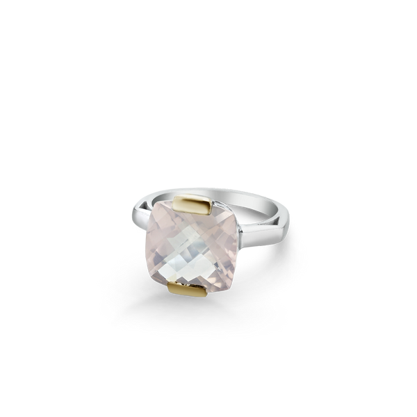 Sterling Silver ring set with rose quartz from your montreal jewellery designer, www.elysee.com