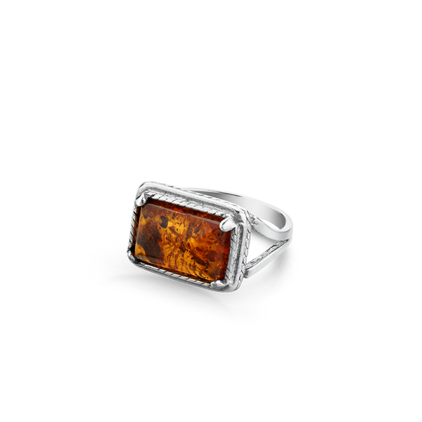 STERLING SILVER RING SET WITH AMBER montreal jewellery designer www.elysee.ca