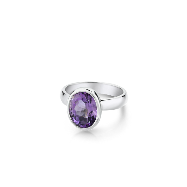 OVAL AMETHYST SET IN A STERLING SILVER RING, montreal jewellery designer www.elysee.ca