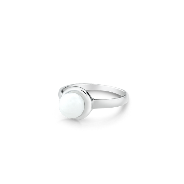 White jade and sterling silver ring. Montreal jewellery designer. www.elysee.ca