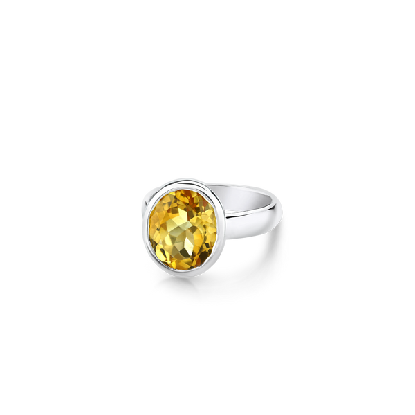 Oval Citrine Ring in Sterling Silver. Montreal jewellery designer, www.elysee.ca