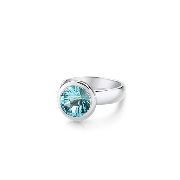 Round Blue Topaz Ring Bezel set in Sterling Silver.  Montreal jewellery Designer www.Elysee.ca