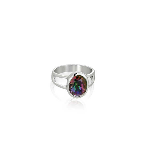 Sterling Silver ring set with mystic topaz from your montreal jewellery designer, www.elysee.com