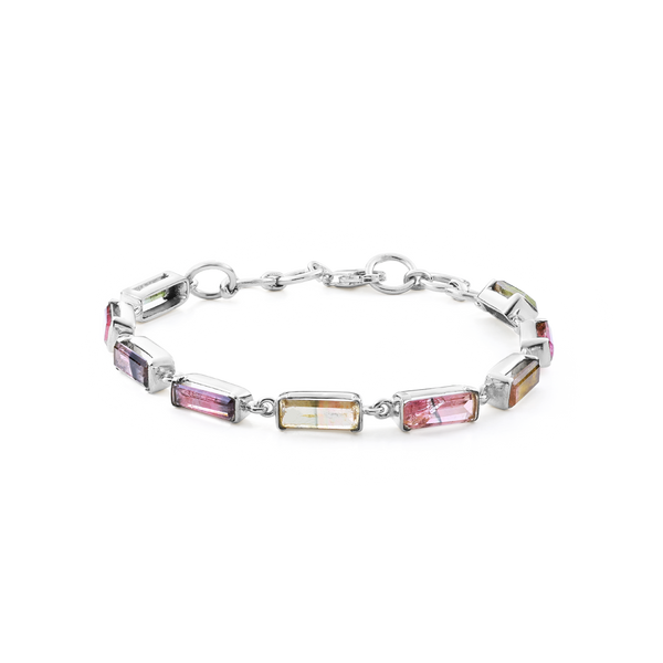 Watermelon tourmaline bracelet in silver, watermelon tourmaline jewelry from your montreal jewellery designer www.elsysee.ca