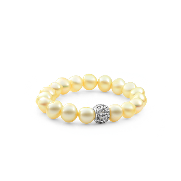 Creamy Yellow Freshwater pearl bracelet, yellow pearl Bracelet from your montreal jewellery designer www.elysee.ca