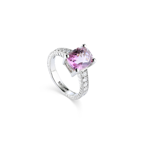 14K White Gold Ring set with Pink Topaz and Diamonds, Montreal jewellery designer Bijouterie Élysée